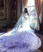 Buy Elegant Wedding Dresses 2017 New Lace Sexy V Neck Mermaid Sleeveless royal Train Applique Bride Gowns Robe De Marriage for $249.00 in AliExpress store