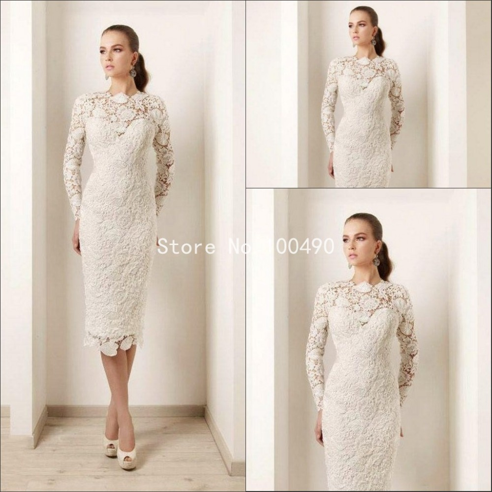 2016 modern high neck lace wedding dress sheath tea length for Short sheath wedding dress