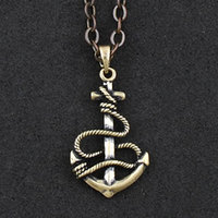 2016 Real New Pendant Necklaces Unisex Maxi Necklace Collier Collares Onsello Punk Pirate Anchor Pendant Necklace + Gift Pouch