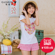 Printing new spring and summer song Riel sweet and lovely and comfortable short-sleeved pajamas tracksuit suit Ms. Qin Ni silent
