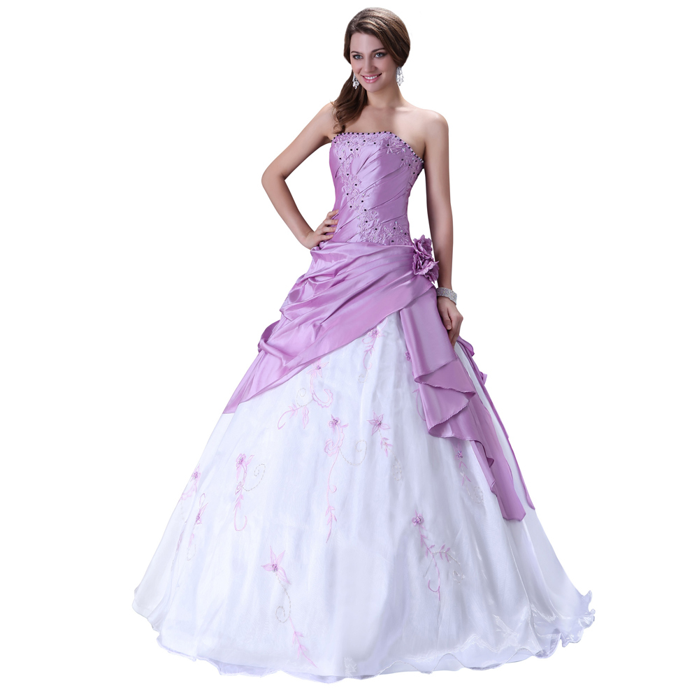 Wedding Dresses Real : Shoulder purple wedding dresses ball gown handmade bridal gowns real