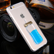 Fun lovely Simulation Baby Milk Bottle Flowing Water Liquid phone cases for iphone 5/5S/6/6S/6Plus/6s Plus with holder function(China (Mainland))