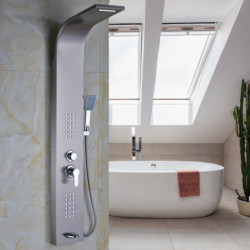 Stainless Steel Single Lever Wall Mount Shower Faucet Panel & tub Spout & Handshower & 2 Parts Massage Jets(China (Mainland))