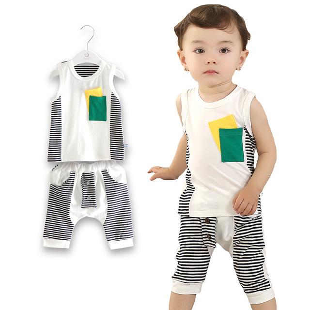 2016 новый летние baby-мальчики одежда устанавливает малышей девочки комплект одежды ...