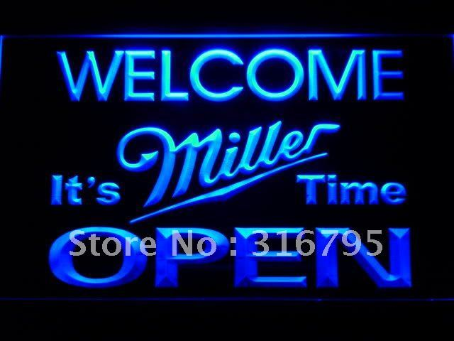 070-b Welcome It's Miller Time Beer OPEN LED Neon Sign