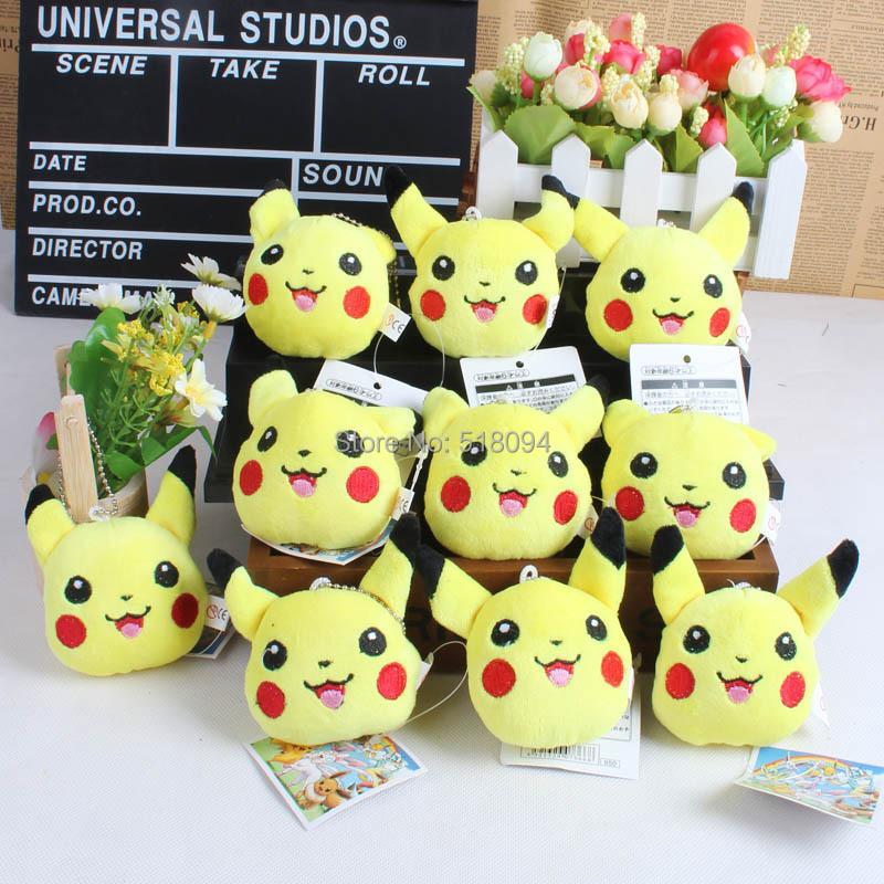 Anime Cartoon Pokemon Pikachu Plush Toy Doll with Ring Soft Stuffed Doll 10pcs/lot Free Shipping ANPT267(China (Mainland))