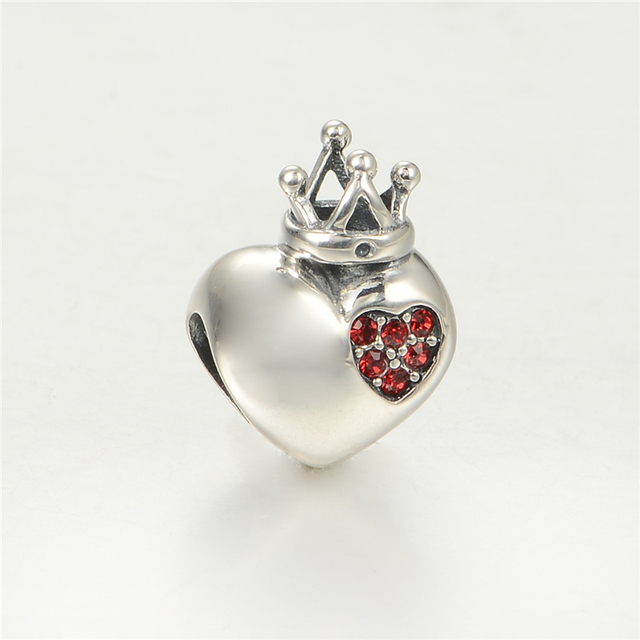 S925 стерлингового серебра Jewerly в форме сердца любовь с короной бусины DIY стерлингов - серебристо-ювелирные подходит пандора Chamilia подвески браслеты