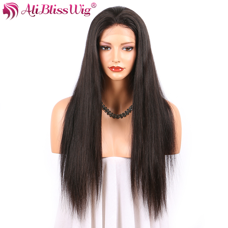 AliBlissWig Straight Human Hair Lace Front Wigs Black Women High Density Natural Color Brazilian Remy Wigs Baby Hair Express UK(China (Mainland))