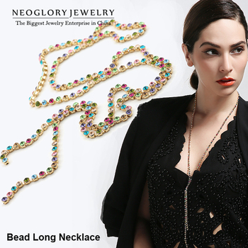 Neoglory MADE WITH SWAROVSKI ELEMENTS Rhinestone Colorful Long Bead Chain Necklaces Jewelry for Women 2015 New BeC Colf Colf-b