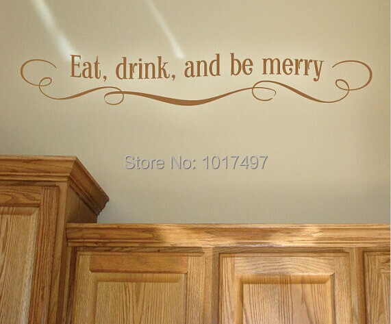 EAT DRINK & MERRY Vinyl wall stickers kitchen , Kitchen decal , wall stickers modern kitchen decor ,free shipping F2058(China (Mainland))