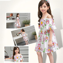 Girls Dresses Summer 2016 High Quality Design off-the-shoulder Dress for Kids Age 2 6 8 9 10 12 TYears old Teenager Girl Clothes