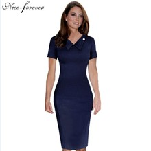 Nice-forever Ladylike Blue Female elegant Women Pencil Dress Special Turn-down Neck Solid Business Bodycon Vintage Dress 927(China (Mainland))