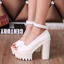 2016 New Women Pumps Wedding Shoes Thick Heels Open Toe Single Shoes Formal Platform Women Shoes High Heels