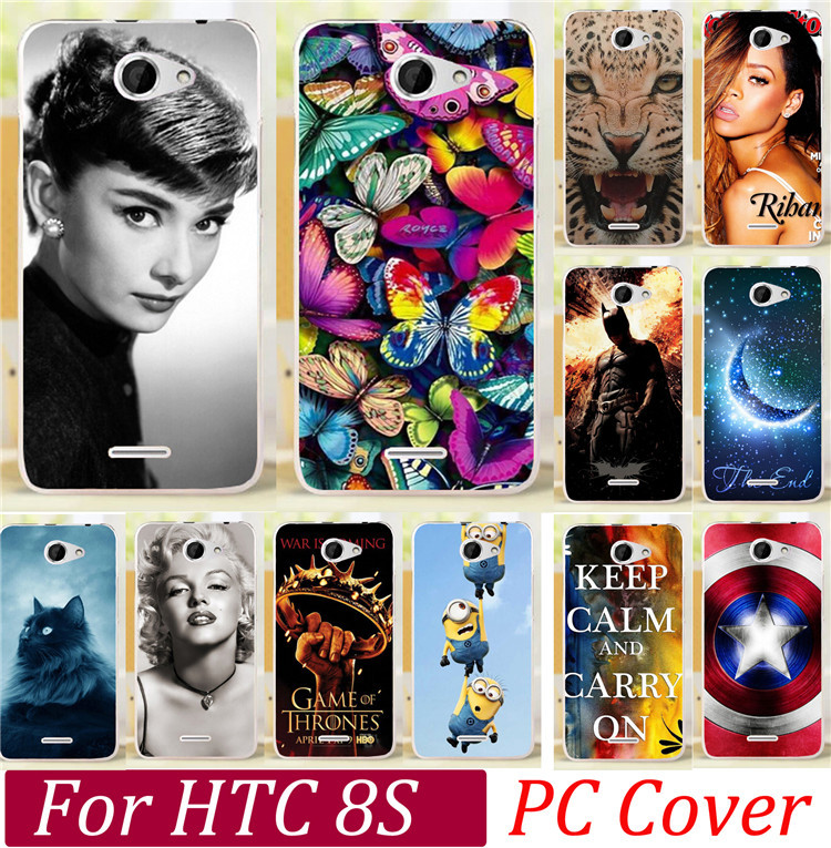 Best Selling Cute Dog Tiger Skull Mariyn Monroe Butterfly Rose Cat Keep Clam Batman Cases For HTC 8S Phone Case Cover Skin Shell(China (Mainland))