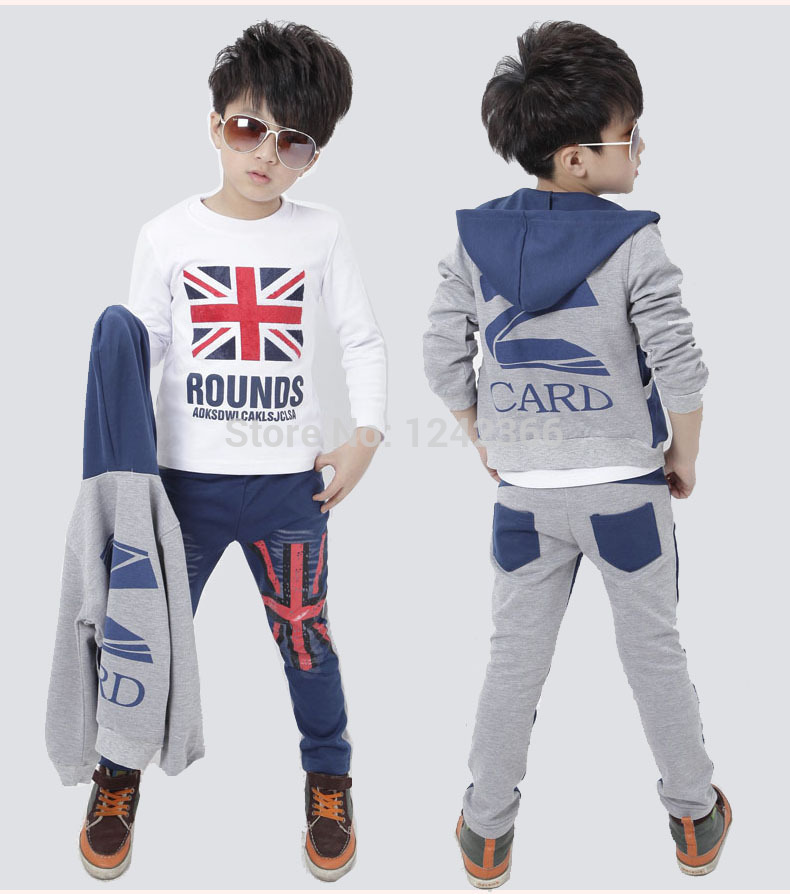 Boys Girls Jeans Clothing Coat/outerwear+t-shirt+pant sport suit 2015 autumn Children/Kids three-piece Clothes union jack print(China (Mainland))