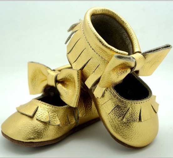 2016 Summer Mary Jane Gold Genuine Leather baby moccasins