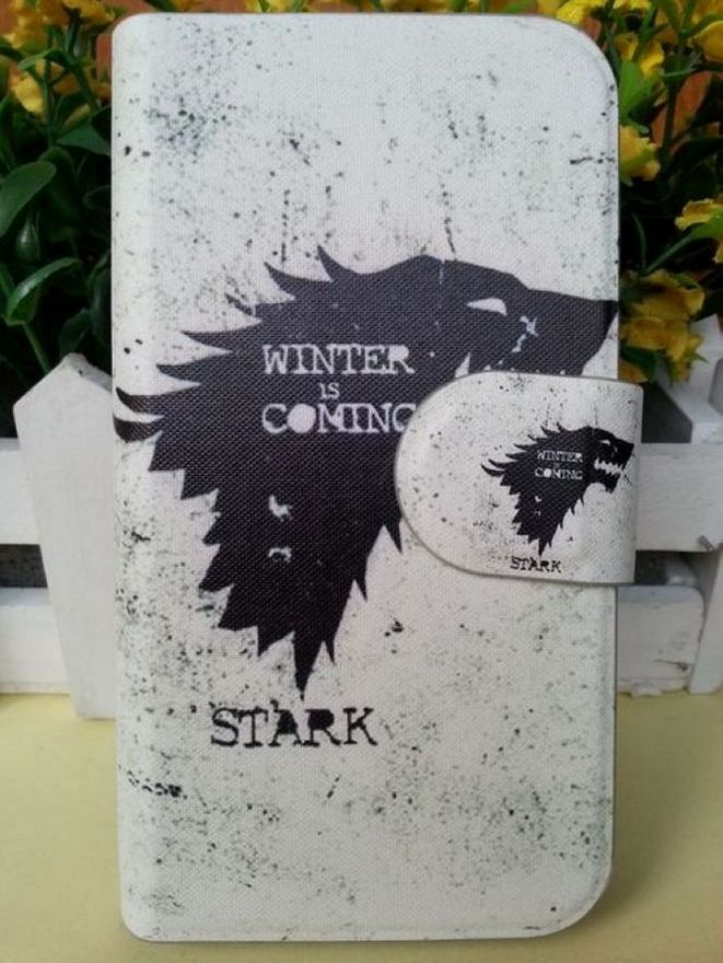 Hot Game of Thrones Black Wolf Winter Style PU Leather Flip Case Cover for Samsung GALAXY Win Pro G3812(China (Mainland))