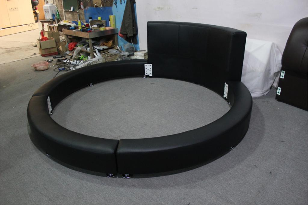 Modern design high back genuine leahter top luxury exact for Round bed designs with price