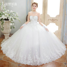 Bride Wedding Dresses 2016 long train bandage Elegant Sweet Princess Wrapped Chest Ball Gown vestido de noiva WD0417