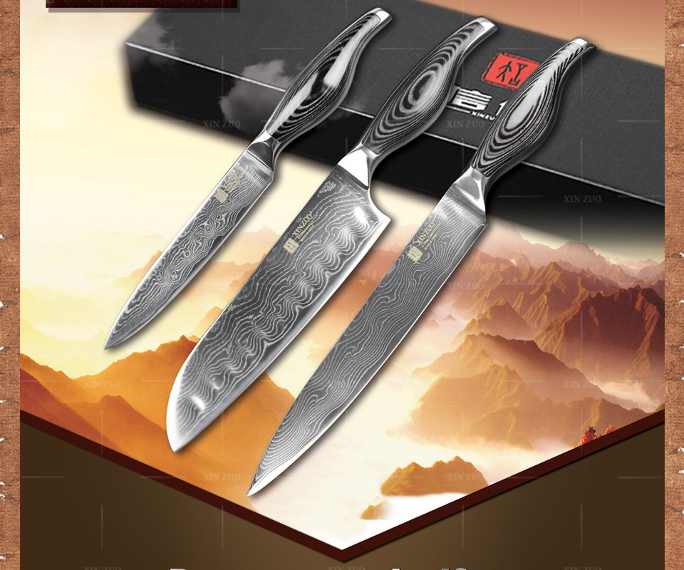Buy 3 pcs kitchen knives 73 layers  Damascus steel kitchen knives set Japanese chef knife fruit wood and steel  handle free shipping cheap