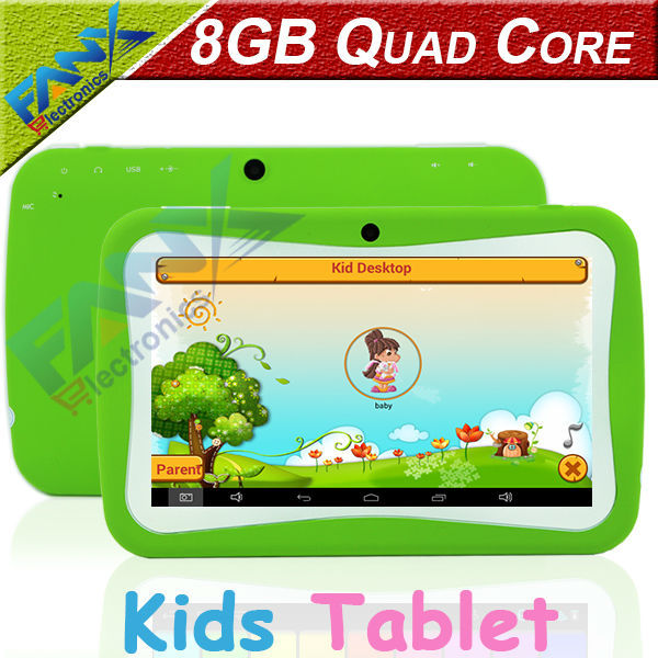 Free Shipping 7 inch Quad Core Kids Tablet PC Designed for Children Educational Android 4.4 Preloaded Educational Apps and Games(China (Mainland))