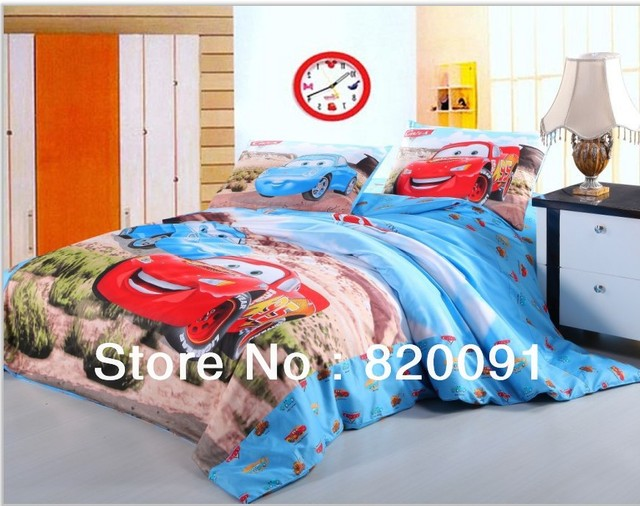 Cartoon Racing Cars Printed Bedding for Boys 3 or 4pcs 100% Cotton Duvet Cover Set Home Textile for Twin/Full/Queen Bed, Blue