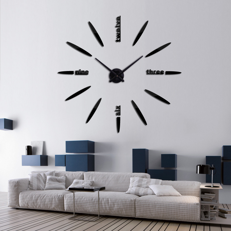 2016 hot sale large wall clock acrylicmirror clocks for Living room wall clocks