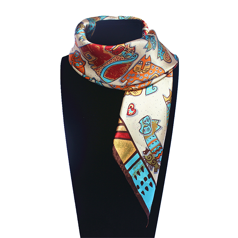 60cm*60cm Women 2016 New Fashion Imitated Silk Euro Nations Wind Bohemia Cartoon Cat Printed Scarf Small Square Scarves(China (Mainland))