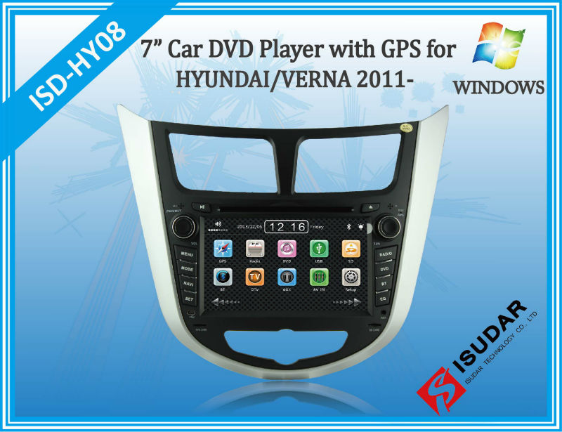 Two Din 7 Inch Car DVD Player For HYUNDAI/Verna/I25/Solaris 2011- With 3G Host Radio GPS RDS BT TV 1080P Ipod Free Map(China (Mainland))