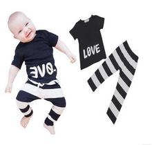 Hot retail wholesale 2016new arrival children clothing suit baby boys long-sleeved cute LOVE Printing T-shirt+Striped pants 2pcs