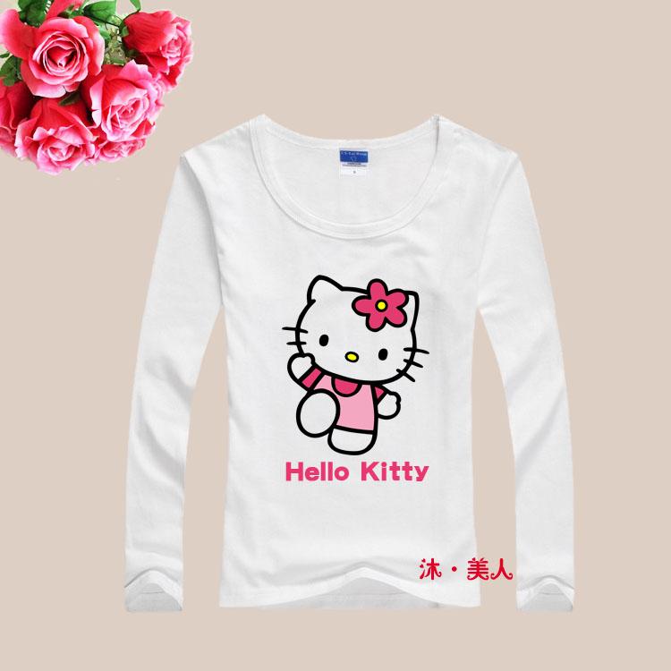 fashion new cotton Lycra cute hello kitty women t shirt ...