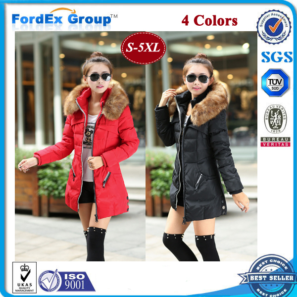 2015 Winter Jacket Thicken Slim Female Raccoon Fur Collar Long Coat Women Parka Plus Size S-5XL - Fordex Industrial Group Limited store