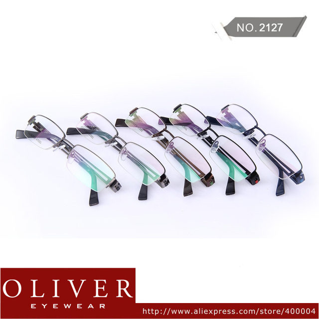 Wholesales!2013 New Retail Designer Fashion Style Half Rim Metal Optical Frames Eyewear Glasses Men High Quality Oliver 2127