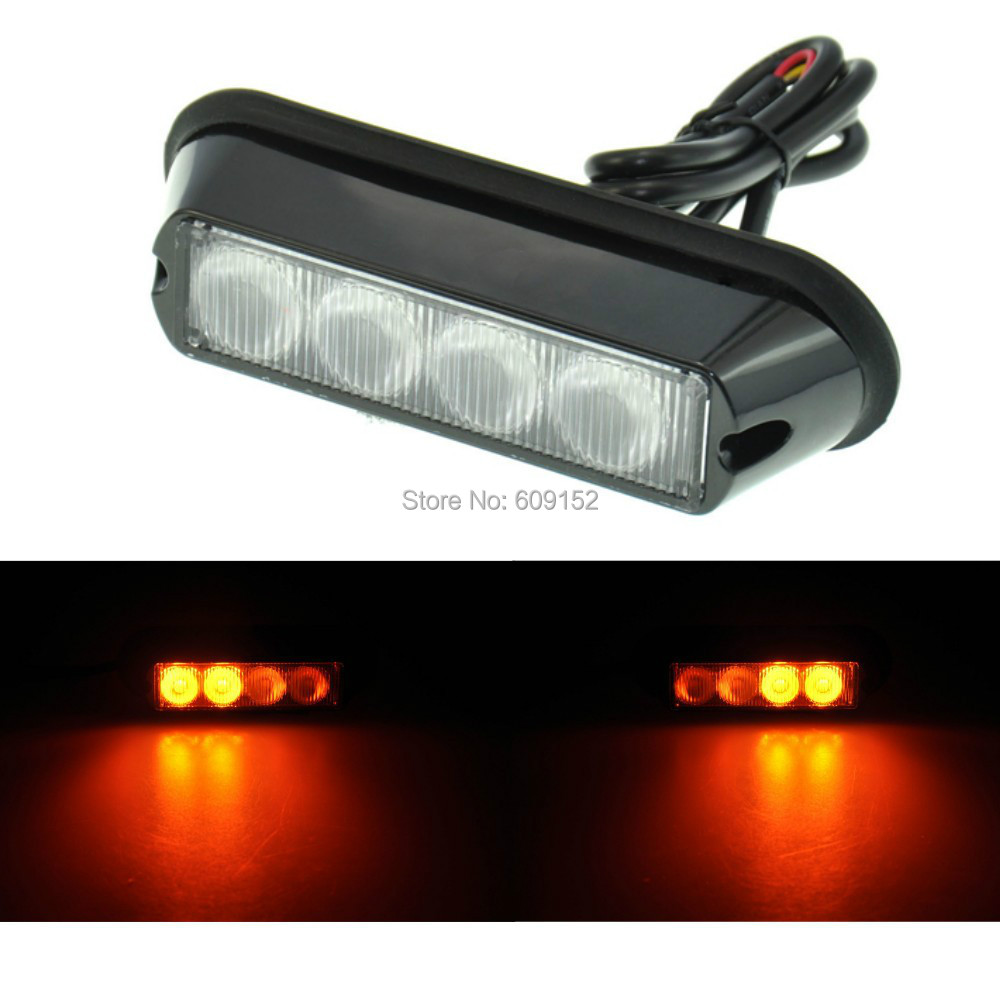 1pc 4 led amber strobe light bar car truck offroad drl. Black Bedroom Furniture Sets. Home Design Ideas