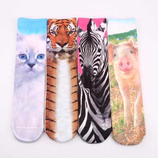 Двойными Бортами Печати Животных Моделей Кошка/Tiger/Зебра/Свинья Печати 3D Носки ...