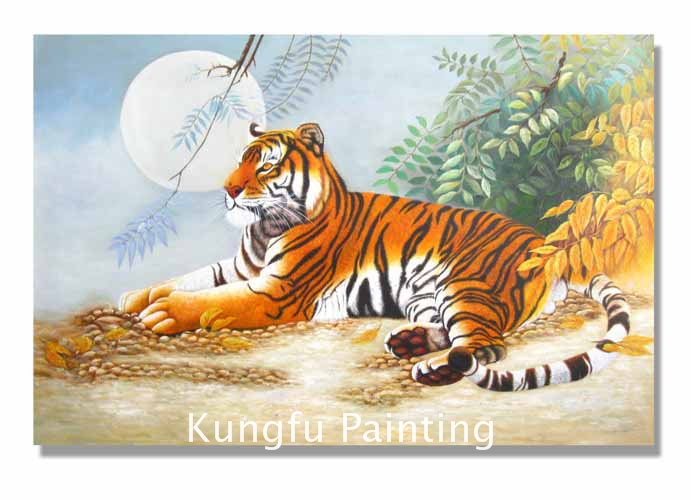 ani439 100% handmade unframed good quality tiger painting living room wall pictures animal painting(China (Mainland))