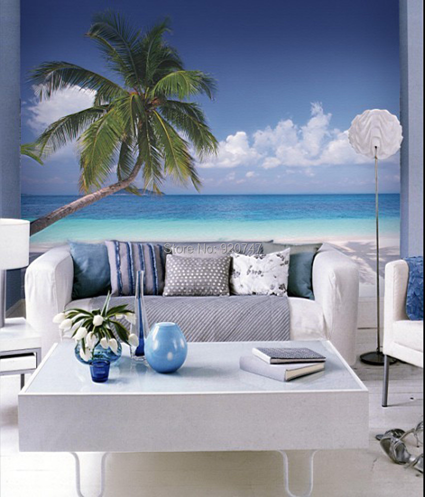 2015 new design 3d wall papers tropical beach 3d wallpaper for 3d murals for sale