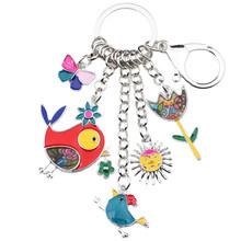 Bonsny Animal esmalte pájaro sol Flor Mariposa llavero mujer llavero regalo bolso encantos llavero coche llavero joyería(China)