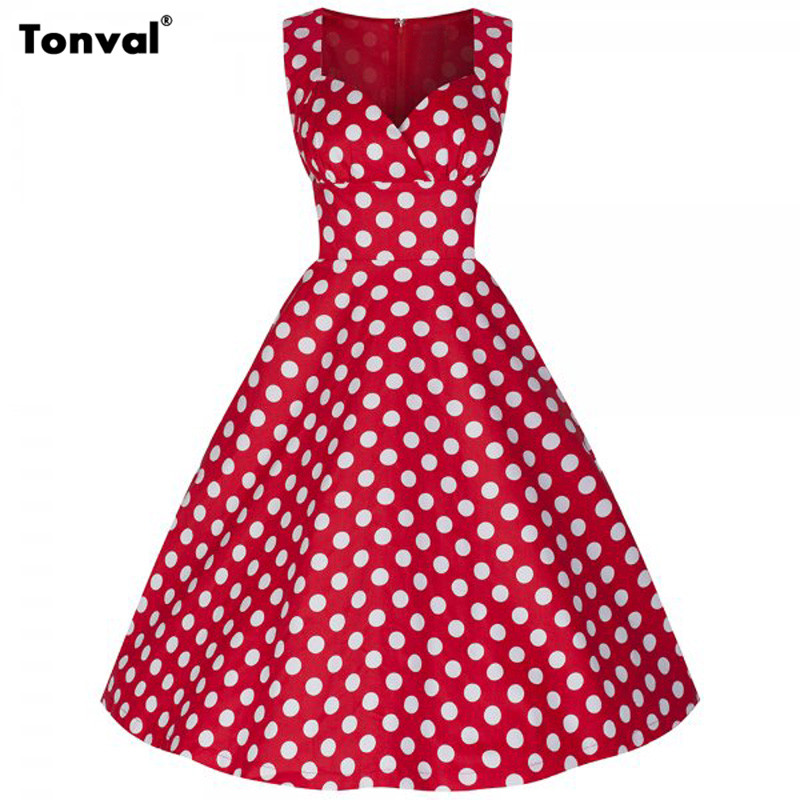 Dark Blue Garment 2016 Red Summer Women Casual Dress Polka Dot Party Dresses Elegant Audrey Hepburn Style Sleeveless Swing DressОдежда и ак�е��уары<br><br><br>Aliexpress