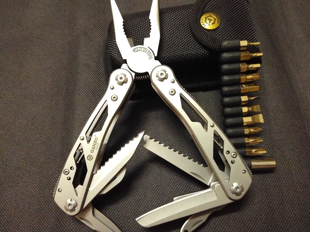 Free Shipping,22in1 function,Silver Ganzo Pro-grade Motor Camping Multi Pliers Tool G202.(China (Mainland))