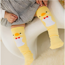 Cute Soft Cotton Kawaii Girls Boys Sock Duck Penguin  Design Catoon Pattern Kids Socks Baby Long Socks(China (Mainland))