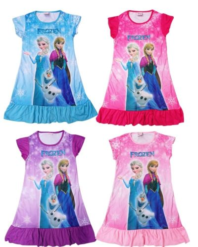 Girls Kids Pyjama Nightie Dress Cartoon Sleep Wear Nightgown Pajama Nightie Princess Dress 4Colors(China (Mainland))