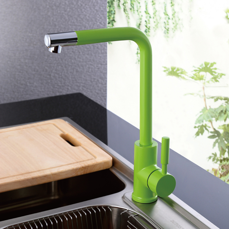 Фотография Kitchen Sink Faucet with Black, White, Green , Orange and Blue, Hot and Cold  Brass Kitchen Basin Faucet / Mixer/ Taps