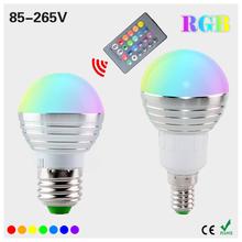 1Pcs AC85V-265V E27 E14 dimmer LED RGB Bulb Candle lamp 5W LED RGB Spot light magic Holiday lighting+IR Remote Control 16 colors()