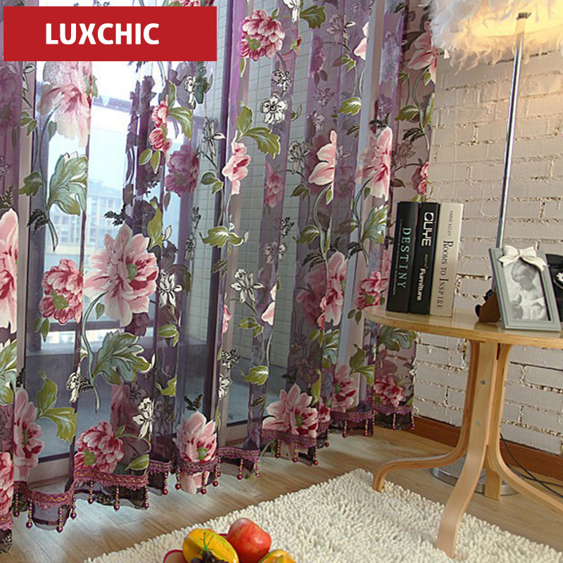 Quality floral design rustic curtain window screening balcony finished product customized tulle curtain(China (Mainland))