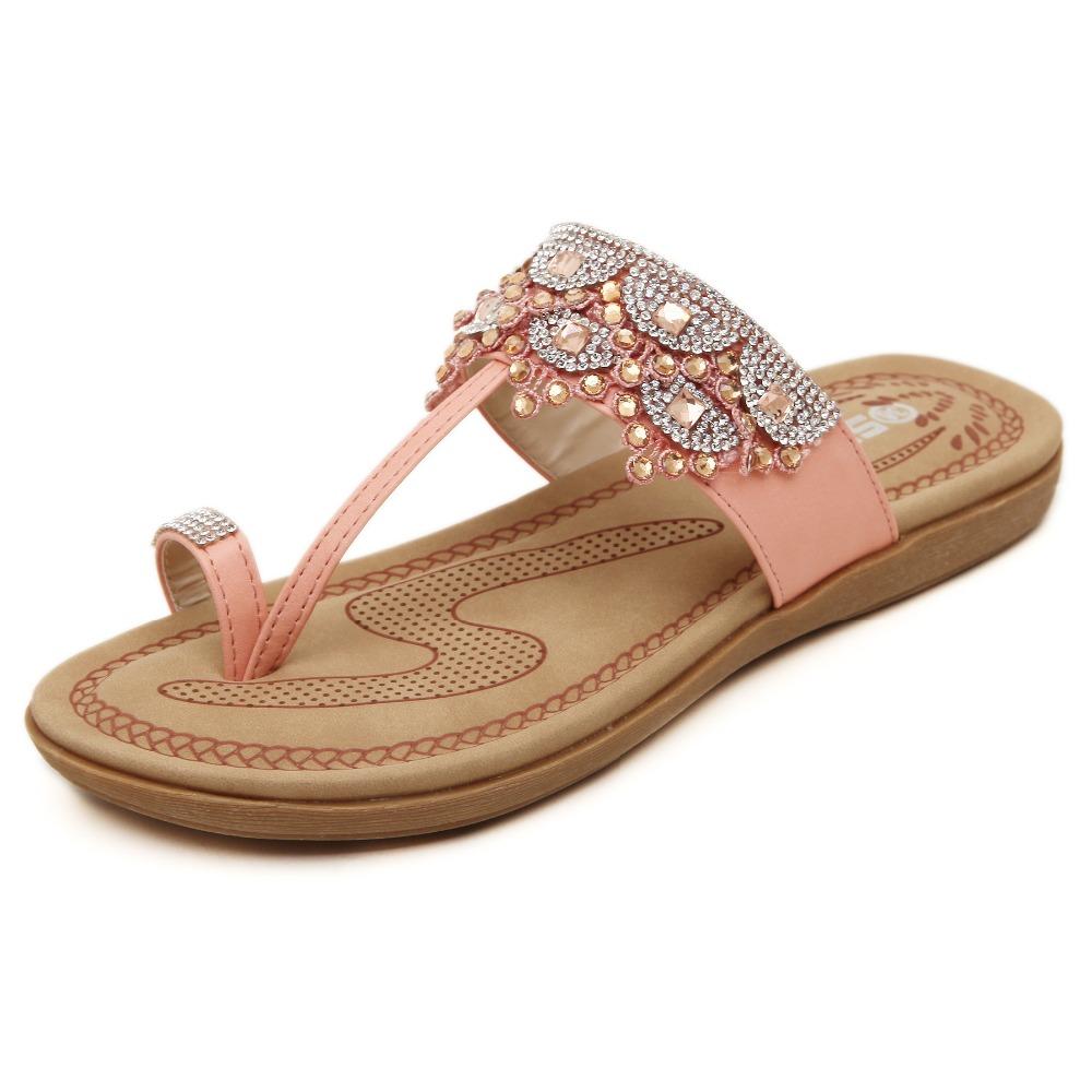 New 2016 fashion rhinestone women sandals flat slip-on slippers summer shoes rasteirinha feminina calzado mujer