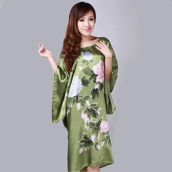 Высокое качество зеленый китайских женщин шелковый район одеяние широкий гостиная ...
