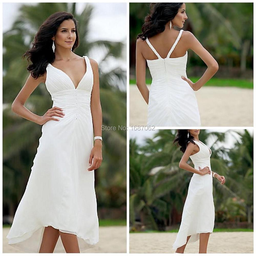 Aliexpress Buy China Cheap 2015 Sexy V Neckline White Chiffon Short Tea Length Beach
