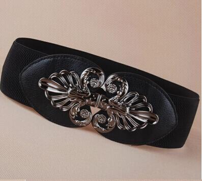 new popular Fashion punk cutout gunmetal buckle elastic waist belt wide strape cummerbund trench women - ABC Mall store