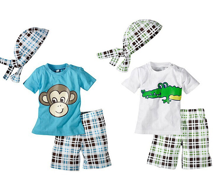 Retail 1Set Summer Baby Boys Monkey 3 Pcs Suits(Tops +Hat+ Plaid Shorts) For 1-5 Yrs Children Cartoon Crocodile Clothing Set(China (Mainland))